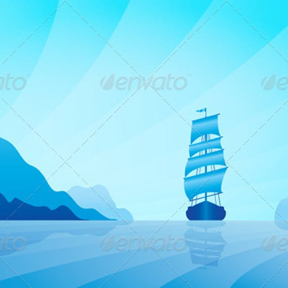 Sailing Ship on Skyline