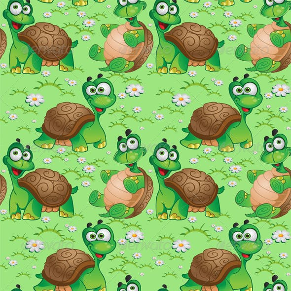 Seamless Pattern with Cartoon Turtles