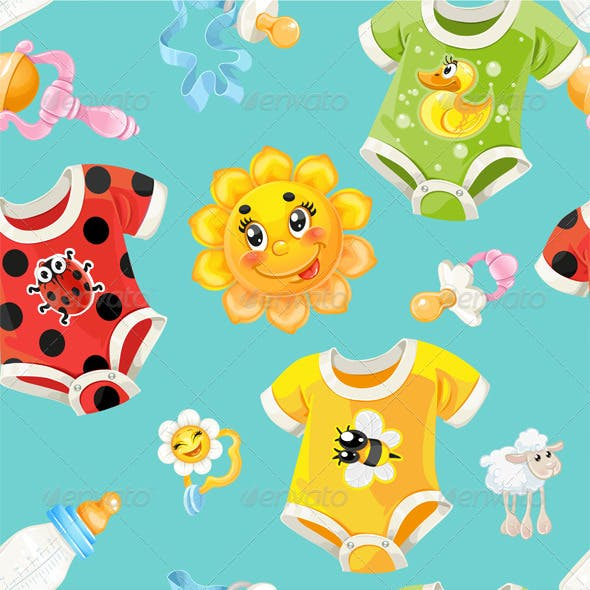 Bright Seamless Background of Children Clothes