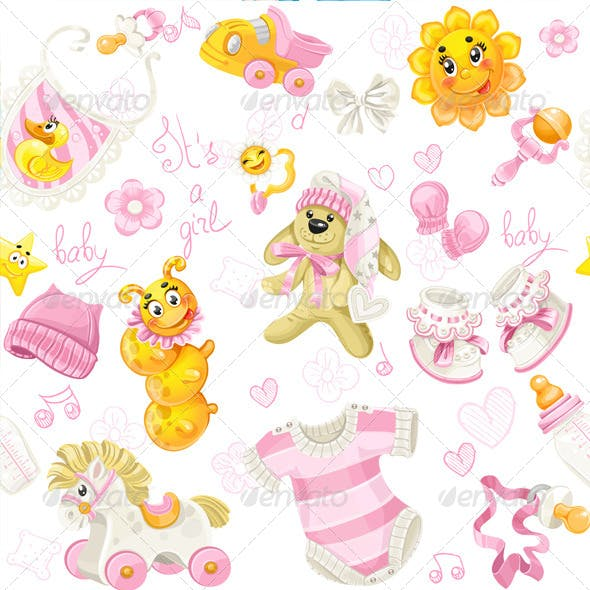 Seamless Pattern of Baby Girl Stuff