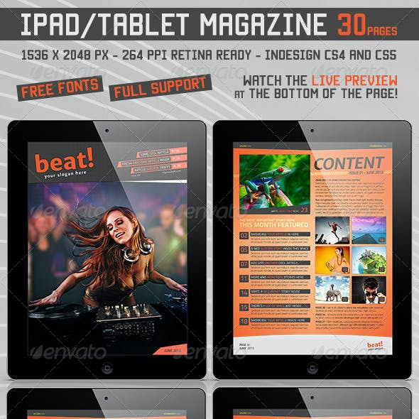 Tablet Retina Magazine Template v.2 30 Pages