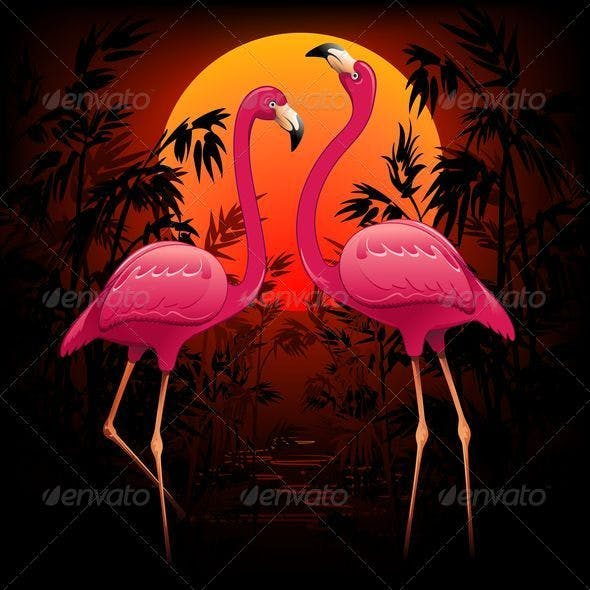 Pink Flamingos on Tropical Sunset