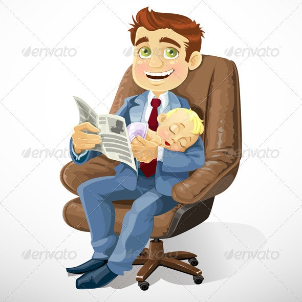 Business Dad with Sleeping Baby - People Characters
