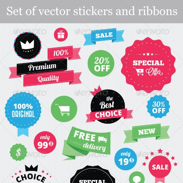Set of Vector Stickers and Ribbons
