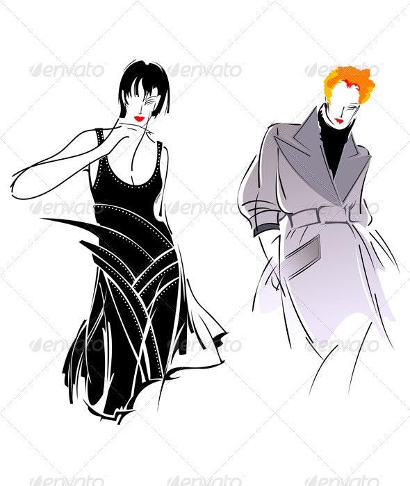 Black Gray Fashion Girl - People Characters