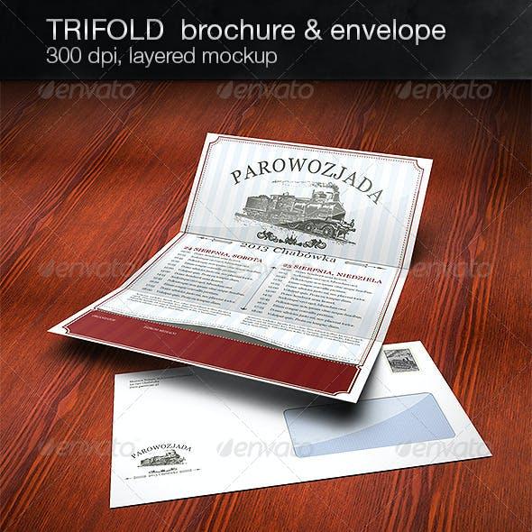 Realistic 3 Fold Brochure and DL Envelope Mockup