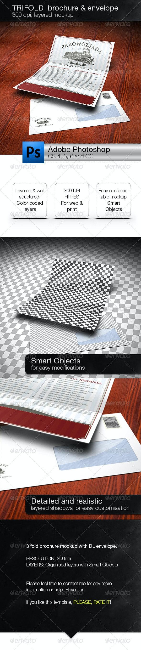 Realistic 3 Fold Brochure and DL Envelope Mockup - Brochures Print
