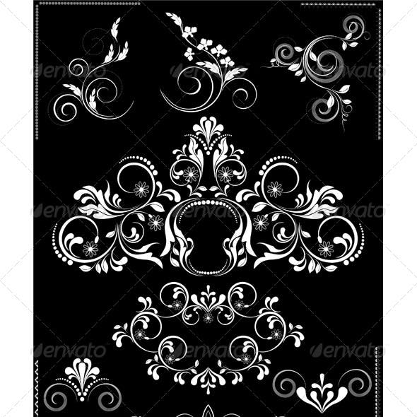 White Flourishes Patterns on Black Background