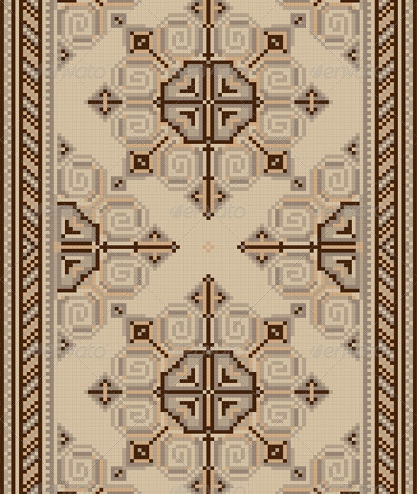 Pattern for Light Carpetwith Brown Shade - Borders Decorative