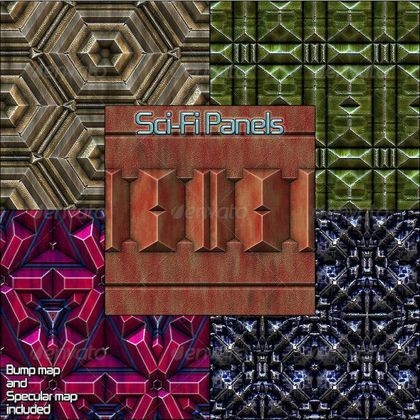 Sci-Fi Panels - Seamless Patterns