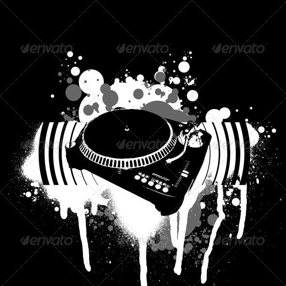 Graffiti Black and White Turntable.