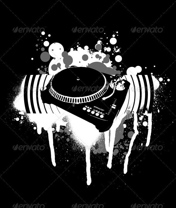 Graffiti Black and White Turntable. - Decorative Symbols Decorative