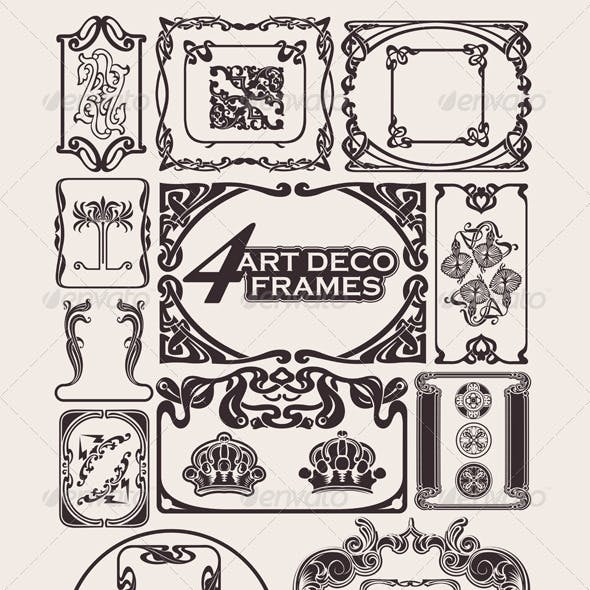 Set Of Ancient Frames In Art-Deco Style