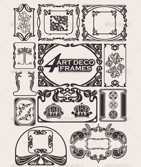 Set Of Ancient Frames In Art-Deco Style - Retro Technology