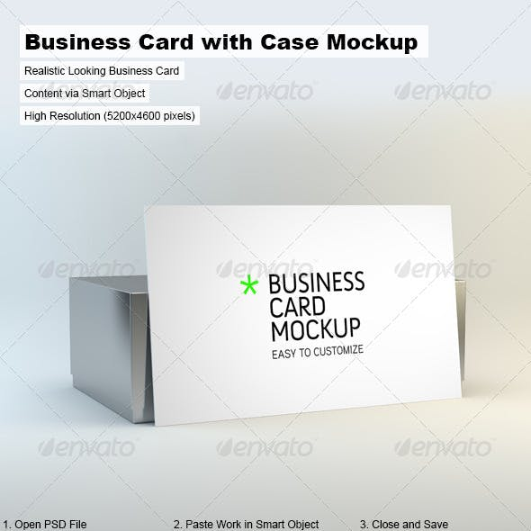 Business Card with Case Mock-Up