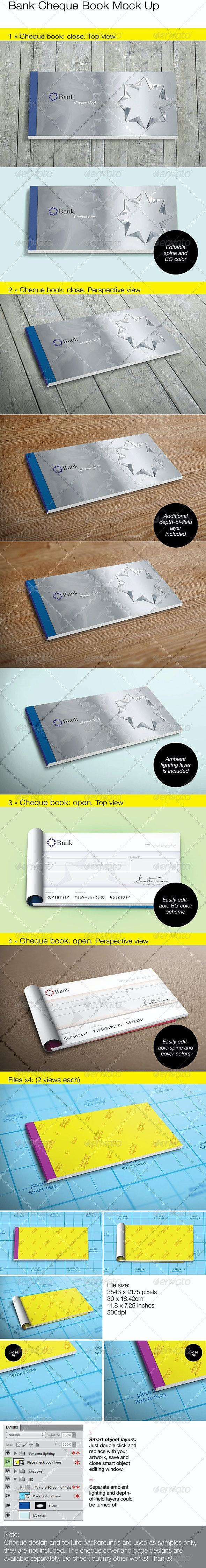 Bank Cheque/Check Book Mock Up - Miscellaneous Print