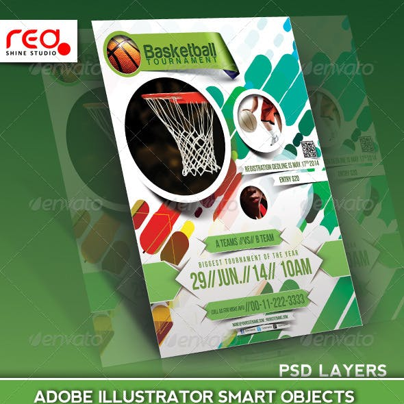 Basketball Tournament Flyer Poster Magazine Template