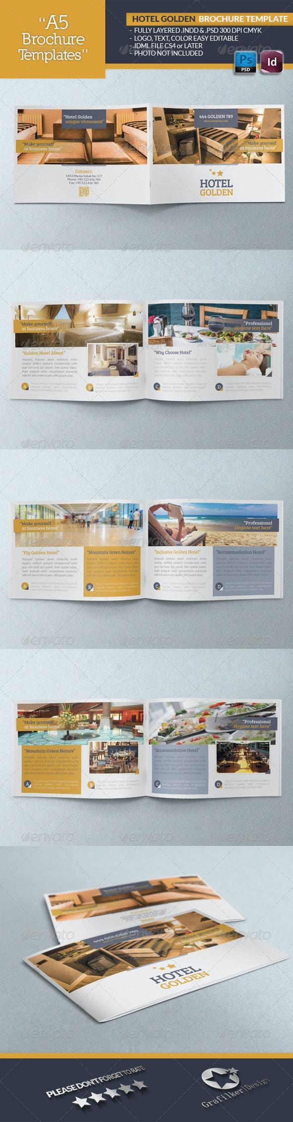Hotel Golden Brochure Template - Brochures Print Templates