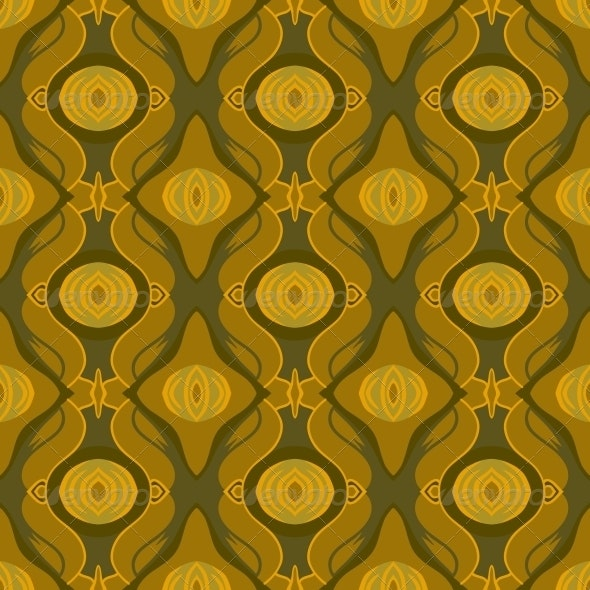 Seamless Arabic Pattern in Shades of Old Gold - Patterns Decorative