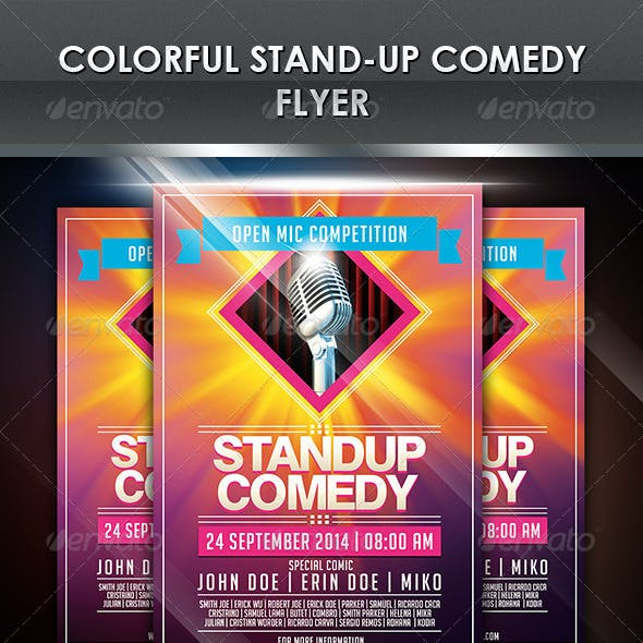 Colorful Stand-Up Comedy Flyer