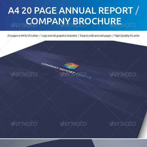 A4 20 Page Annual Report / Company Brochure