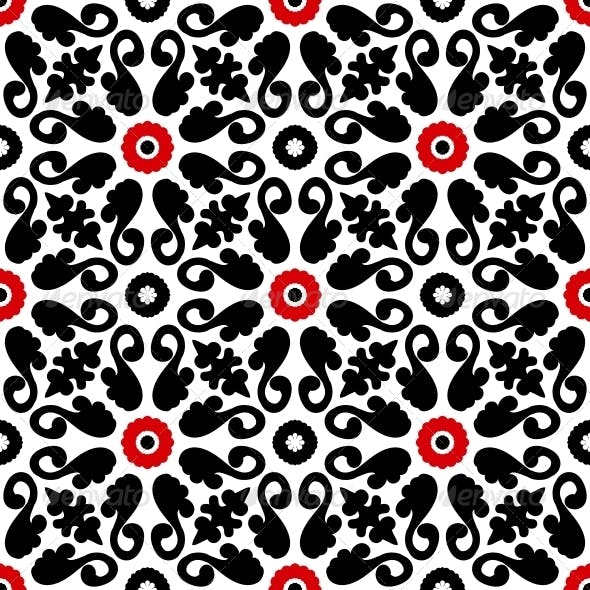 Suzani, Vector Pattern with Bold Floral Ornament