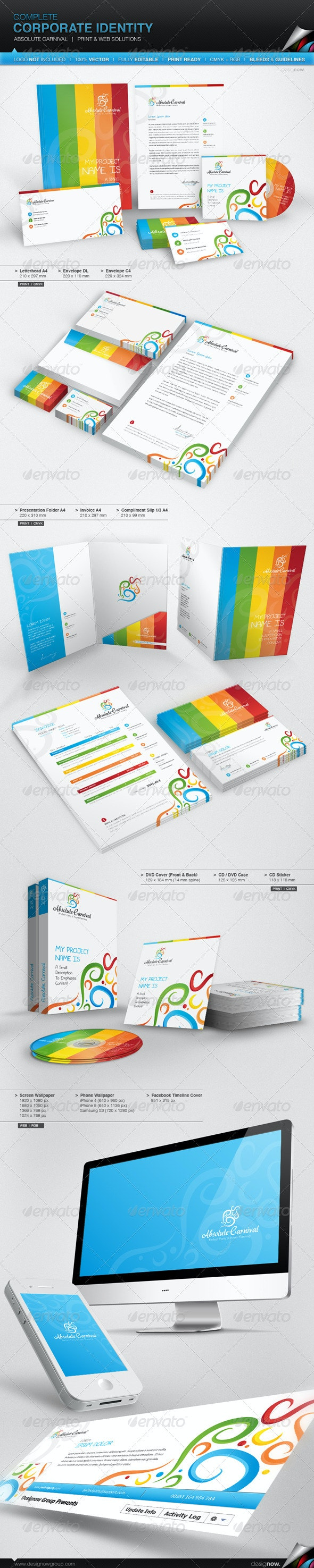 Corporate Identity - Absolute Carnival - Stationery Print Templates