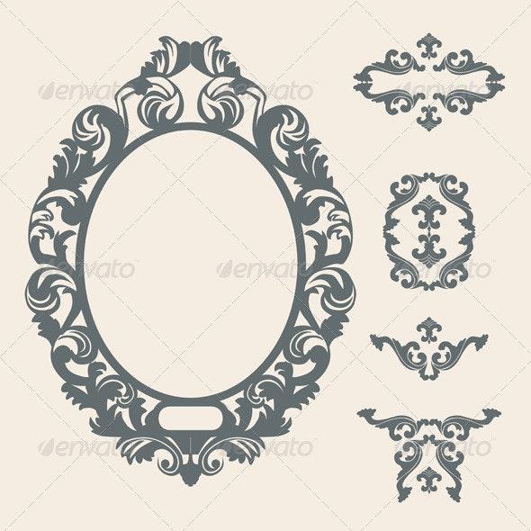 Vintage Decorative Floral Frames Set - Flourishes / Swirls Decorative