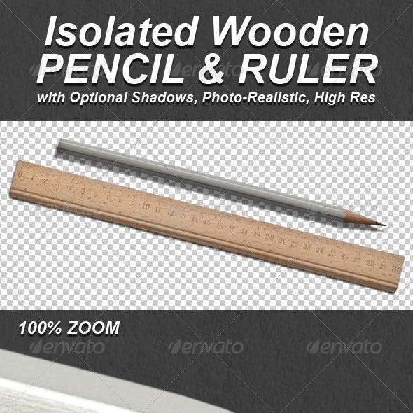 Photo-Realistic Isolated Pencil and Ruler