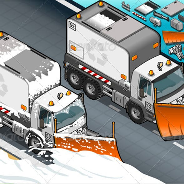 Isometric Snow Plow Truck in Front View