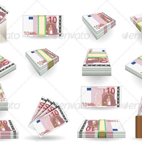 Full Set of Ten Euros Banknotes