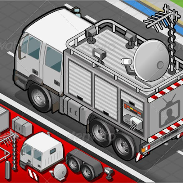 Isometric Broadcast TV Truck in Rear View