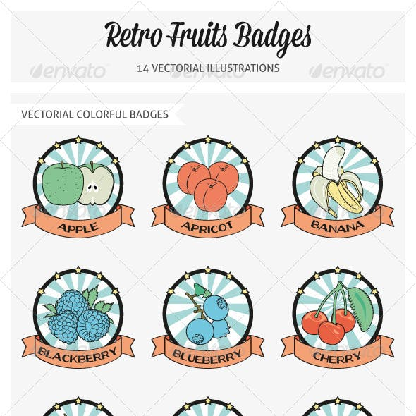 Retro Fruits Badges Vectorial Illustrations