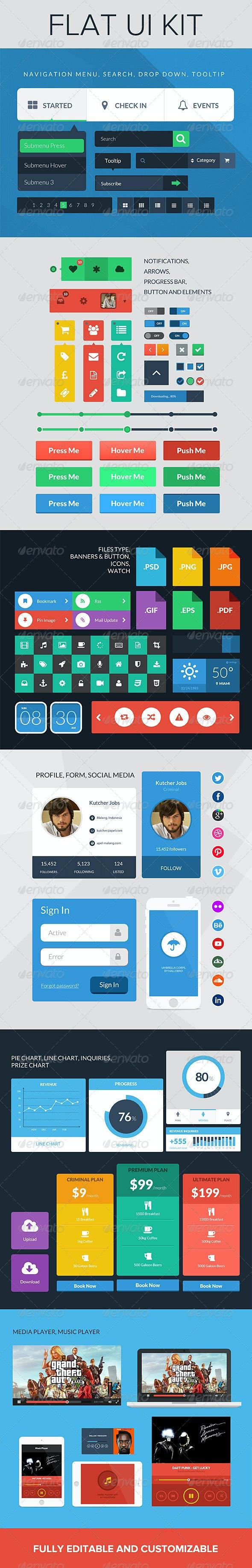 UI Kit - Flat Design - User Interfaces Web Elements
