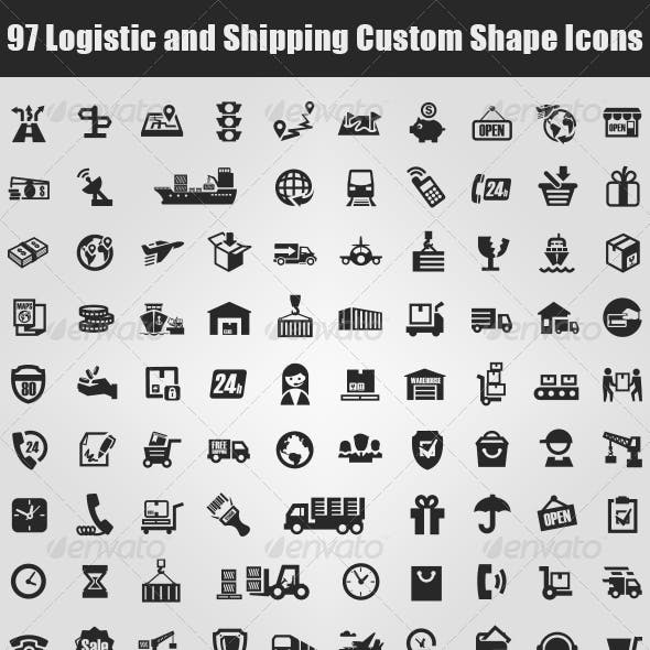 97 Logistic and Shipping Custom Shape Icons