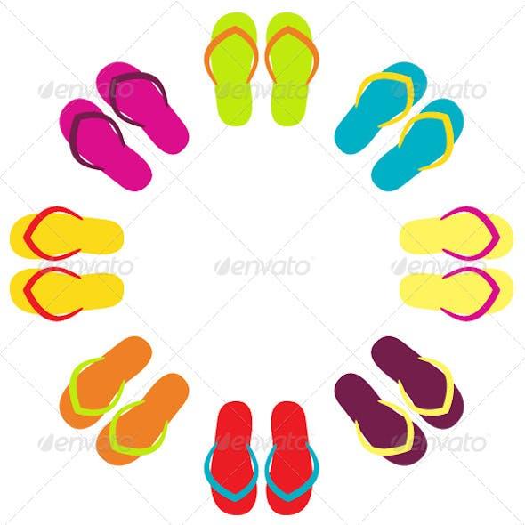 Summer Flip Flops in Circle