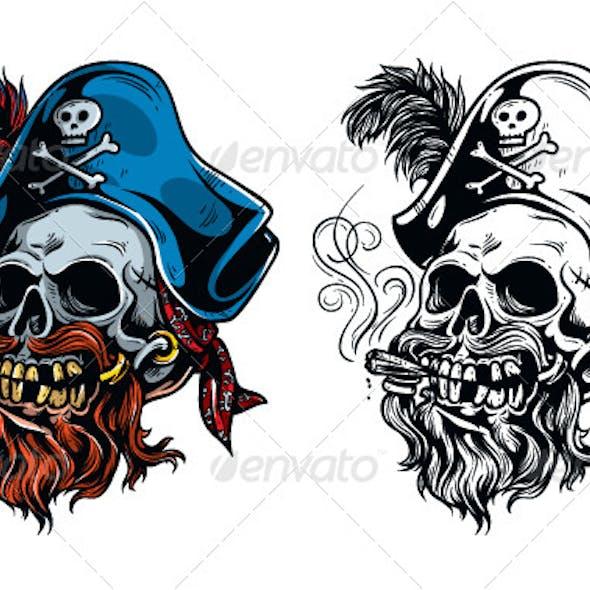 Vintage Pirate Skull Tattoo