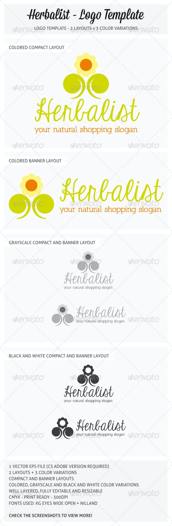 Herbalist Logo Template - Nature Logo Templates