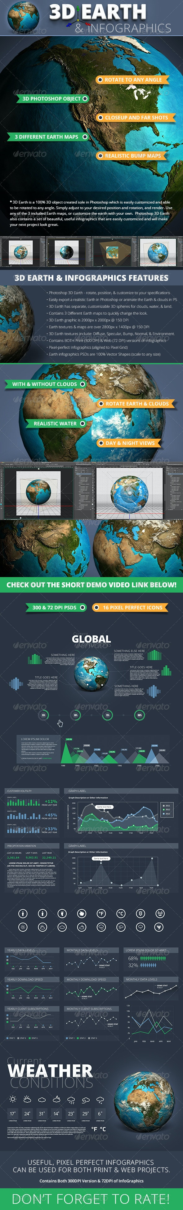 3D Photoshop Earth & InfoGraphics Set - Infographics