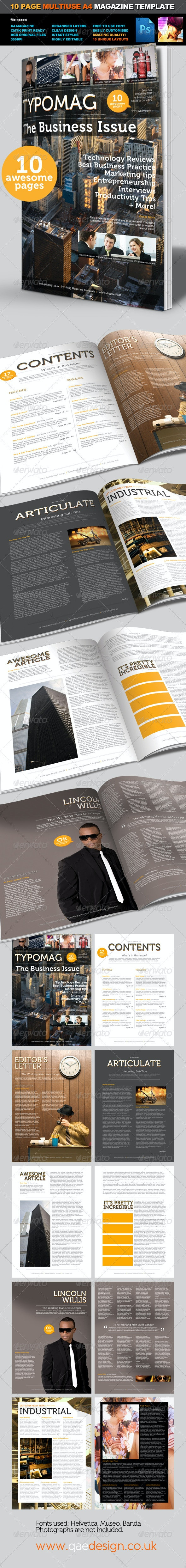 TypoMag - Corporate Business PSD Magazine Template - Magazines Print Templates