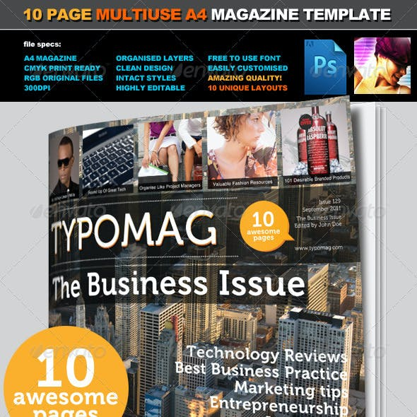 TypoMag - Corporate Business PSD Magazine Template