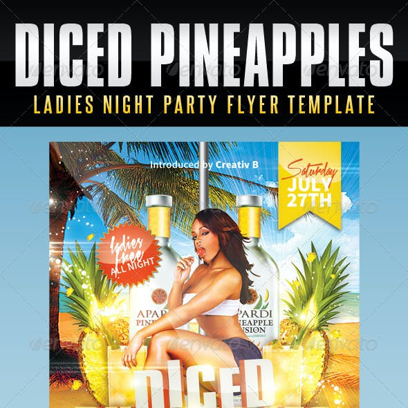 Ladies Night Flyer Template - Diced Pineapples