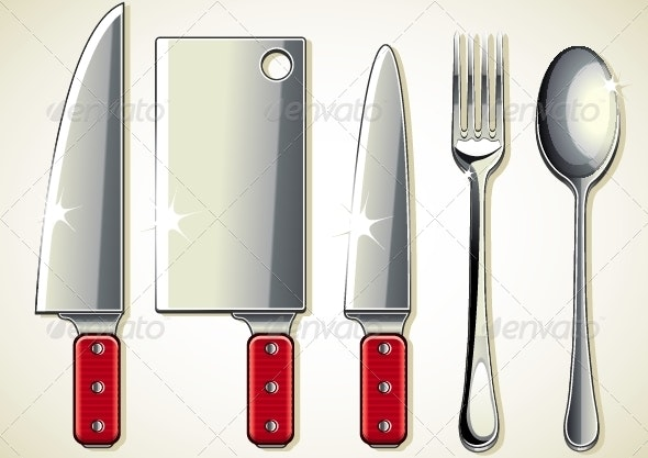 Spoon, Knifes and Fork - Man-made Objects Objects