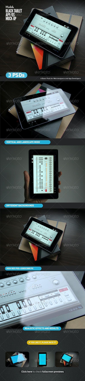 Black Tablet   Android GUI App Mock-Up - Mobile Displays