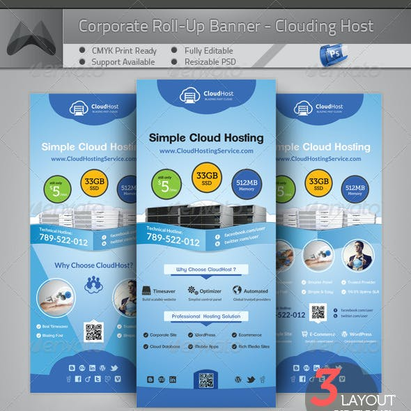 Cloud Hosting Service - Roll-up Banner Template