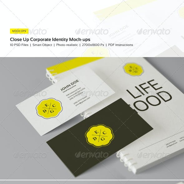 Close Up Corporate Identity and Branding Mock-Ups