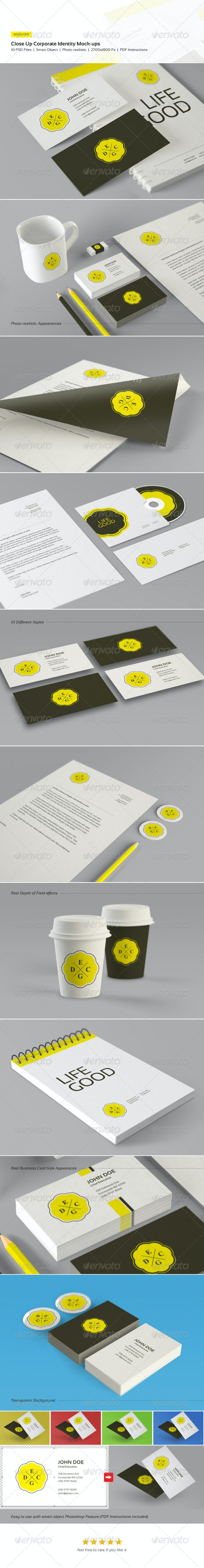 Close Up Corporate Identity and Branding Mock-Ups - Stationery Print