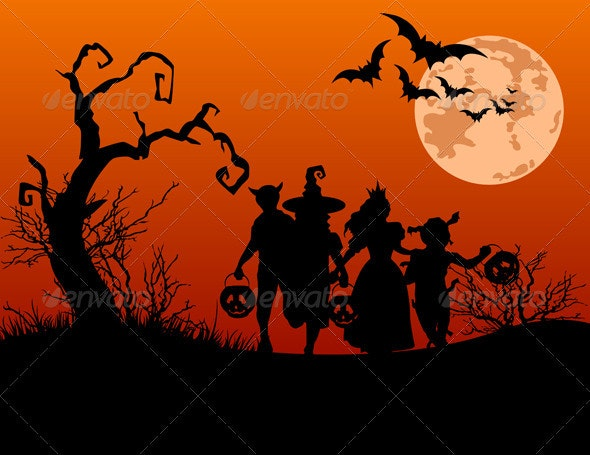 Halloween background with silhouettes of trick or  - Halloween Seasons/Holidays
