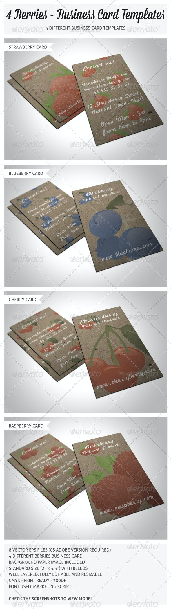 4 Berries Business Cards - Creative Business Cards
