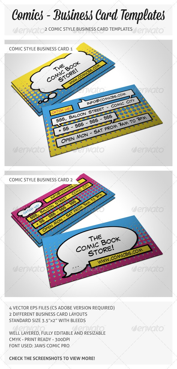 Comic Book Store Business Card - Creative Business Cards